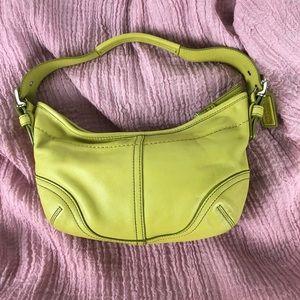 Coach yellow green mini hobo shoulder bag